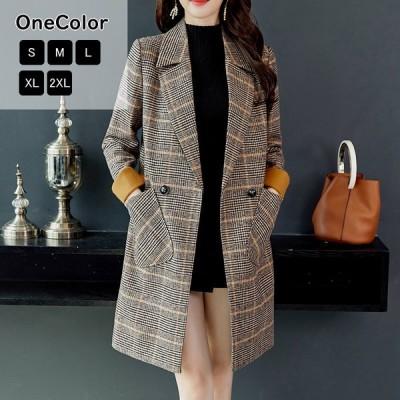 コート チェスターコート チェック柄 ロング丈 ロングコート ジャケット ゆったり 体型カバー 防寒