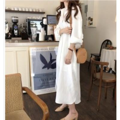 韓国 ファッション レディース 大きいサイズ シャツワンピース ロング 春 レディース ワンピース 長袖 無地 ロングシャツ 体型カバー 前