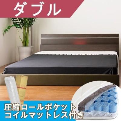 棚・照明デザインベッド ホワイト ダブル 圧縮梱包ポケットコイルマット付き送料無料