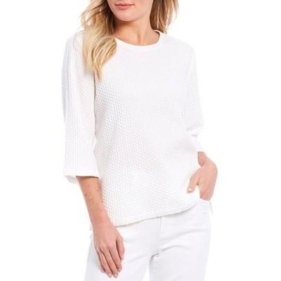 エイリーンフィッシャー レディース Tシャツ トップス Petite Size Tencel Organic Cotton Honeycomb Jacquard 3/4 Sleeve Box Top