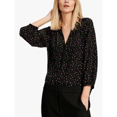 ナービー シャツ レディース トップス NRBY Lucille Spot Print V-Neck Silk Shirt