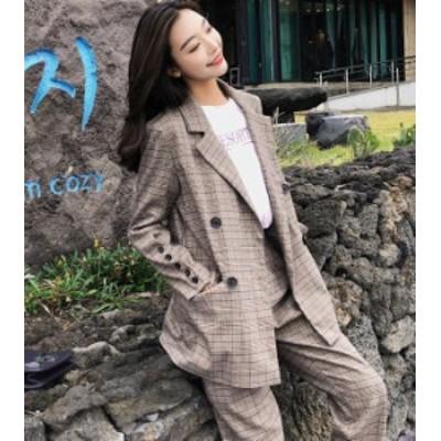 韓国 ファッション レディース セットアップ スーツ パンツスーツ チェック ハイウエスト ゆったり オルチャン レトロ フォーマル 秋冬