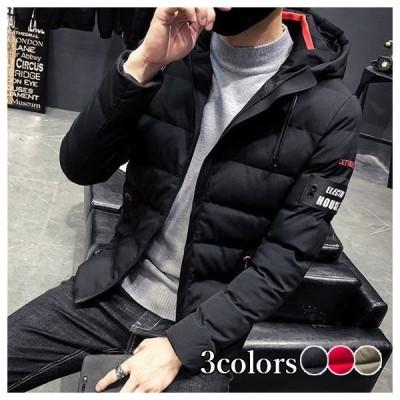ダウンコート メンズ ジャケット ハイネック フード付き ブルゾン 大きいサイズ 中綿コート 冬アウター 無地 プリント 防風 防寒着 暖かい 秋冬 2020