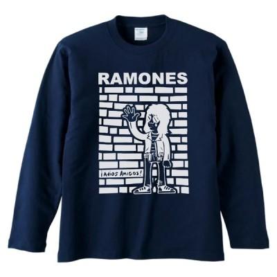 バンド ロック RAMONES 長袖 ロングスリーブ Tシャツ ネイビー