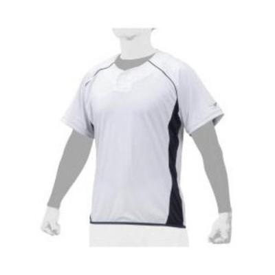 ミズノ ベースボールシャツ(ホワイト×ネイビー・サイズ:O) mizuno ビートアップ ユニセックス 12JC0X2214O 【返品種別A】