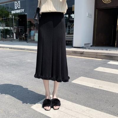 夏女台形ラシャ スカート  ストライプ Aラインスカート フリルギャザー