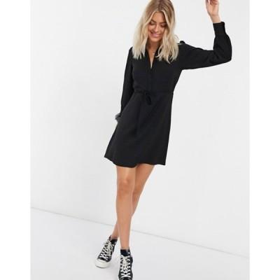 ニュールック レディース ワンピース トップス New Look shirt mini dress in black