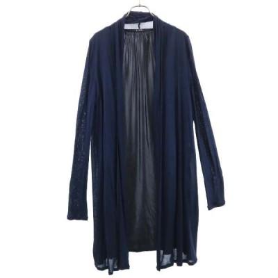 リミフー レーヨン ロング カーディガン S 紺系 LIMIfeu 日本製 羽織 長袖 レディース 古着 201106 メール便可