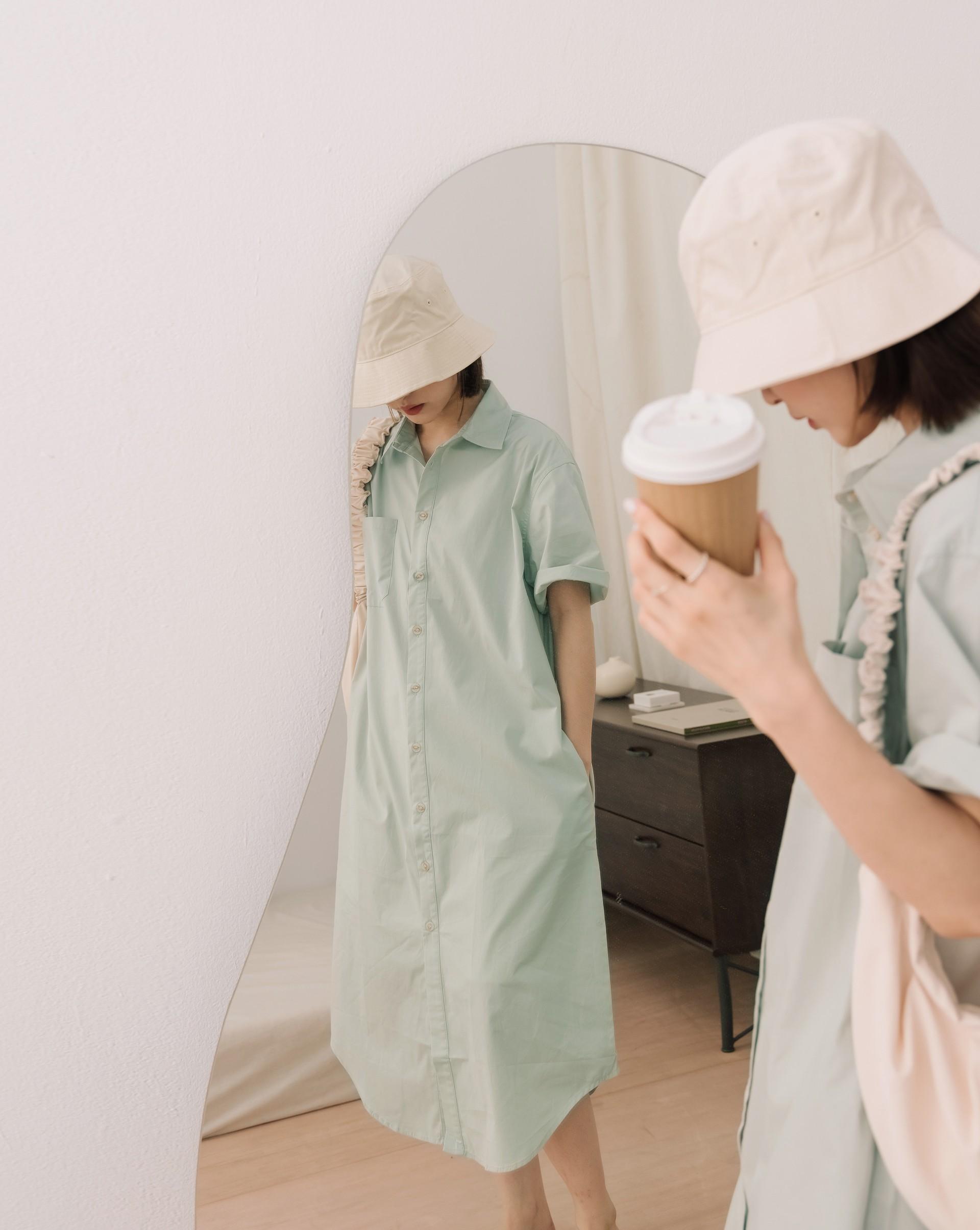 休閒日常單口袋長版襯衫洋裝-Meierq