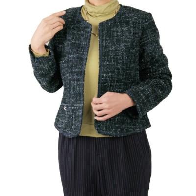 在庫限りセール レディースファッション シルクノイル混ツィード調ノーカラージャケット JK1006-1-91125 婦人服 ミセス 40代 50代 60代