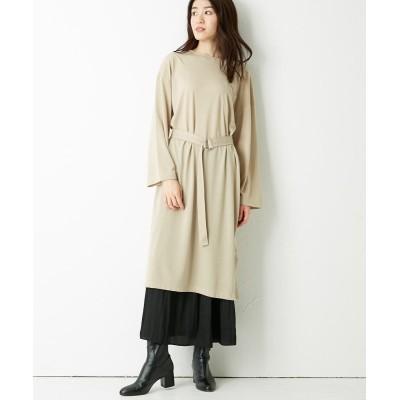 2点セット(ベルト付カットソーワンピース+消しプリーツスカート) (ワンピース)Dress