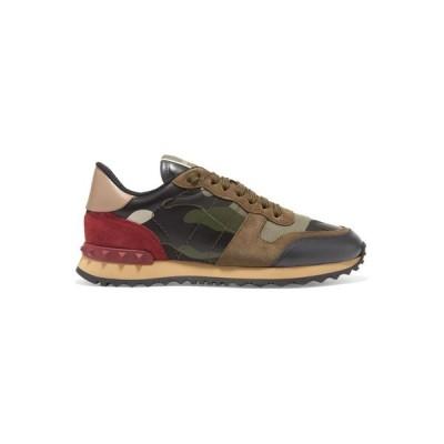 ヴァレンティノ Valentino レディース スニーカー シューズ・靴 Garavani Rockrunner leather and suede-trimmed camouflage-print canvas sneakers
