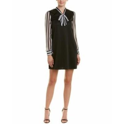 Shift  ファッション ドレス Aiden Chiffon-Sleeve Shift Dress M Black