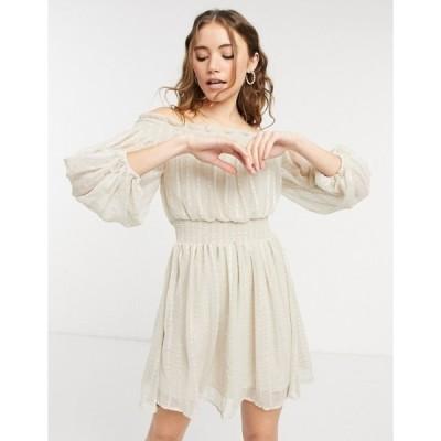 エイソス レディース ワンピース トップス ASOS DESIGN Off shoulder mini dress with blouson sleeve in self stripe cream