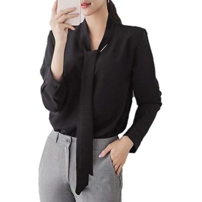 ルナー ベリー シャツ ブラウス シフォン 長袖 カットソー プルオーバー フォーマル レディース 3210 (M, ブラック) ワイシャツ