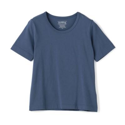 ログイン レディース earthling オーガニックコットン クルーネックTシャツ ネイビー S