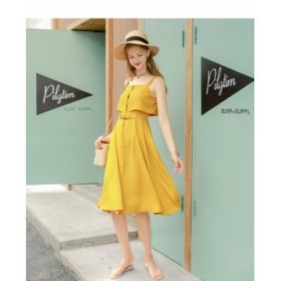 春夏 新作 ドレス ワンピース ウエストリボン パーティ着痩せ 無地 可愛い ファッション LDJ061
