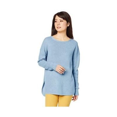 ナチュラルビューティーベーシック  セーター ワッフルニット差込 レディース (ブルー M)