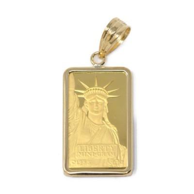 コイン リバティ コイン ペンダント トップ 金貨 K24 24金 枠 18金