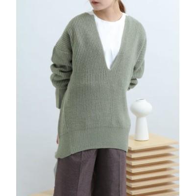 キーネックカタアゼチュニックセーター