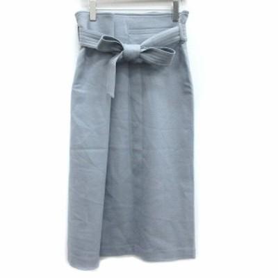 【中古】ノーブル NOBLE スカート フレア ミモレ ロング ウール 36 水色 ライトブルー /AD42 レディース