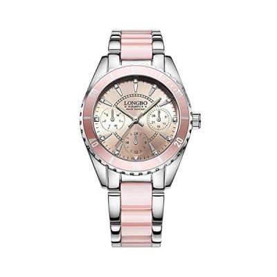腕時計レディースファッションウォッチレディースラグジュアリーセラミックと合金ブレスレット腕時計ホワイトダイヤル腕時計の女性 ピンク