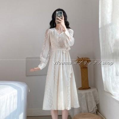ワンピース 女 2020 Aラインスカート 春 新品 レース ホワイト 細身 ふんわりスカート 長袖