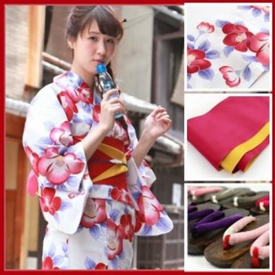 浴衣 セット レディース レトロ キュート フェミニン 高級変わり織り綿浴衣3点セット「白地に青の葉椿」