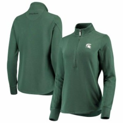 Tommy Bahama トミー バハマ スポーツ用品  Tommy Bahama Michigan State Spartans Womens Green Jen N Terry Half-Zip Pullover Jacket