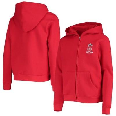 ロサンゼルス・エンゼルス Youth 少年用 Logo Full-Zip Hoodie - Red