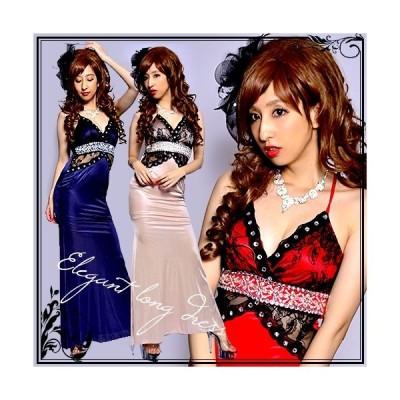 即納 セール SEXY  Blackレース装飾  豪華パール&ビジュー飾り  光沢ストレッチ  サテン  Aライン  ロングドレス パーティ キャバ嬢