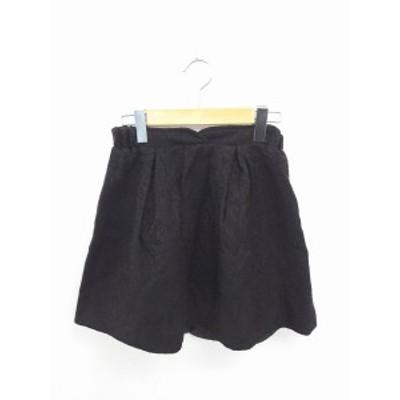 【中古】ジルスチュアート JILL STUART スカート ギャザー フレア ひざ丈 総柄 ウール混 バックファスナー S 黒 ブラック