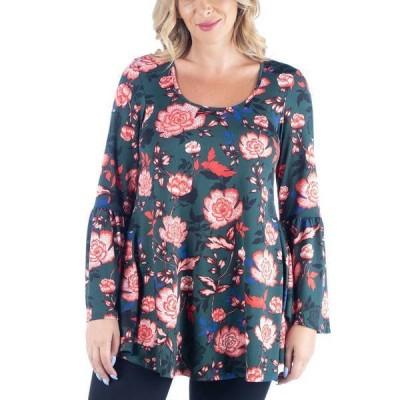 24セブンコンフォート カットソー トップス レディース Women's Plus Size Floral Print Flared Tunic Top Multi