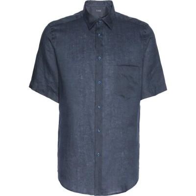 オット バイ ユークス 8 by YOOX メンズ シャツ トップス linen shirt Dark blue