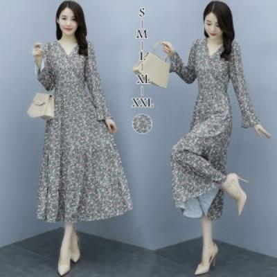 シフォンワンピース 花柄 レディース Vネック 長袖 ロングワンピース 韓国ファッション シンプル エレガント Aライン