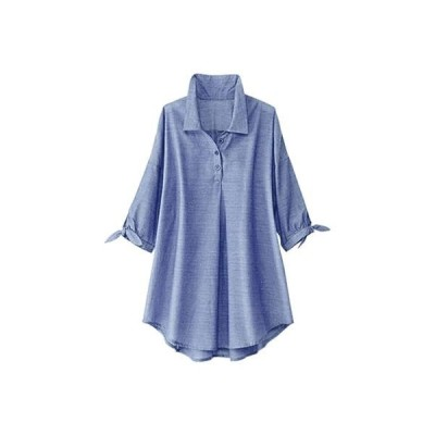 ベルーナ BELLUNA 綿シャンブレー素材袖リボン使いブラウス (ブルー)