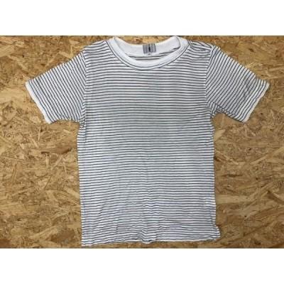 TK TAKEO KIKUCHI タケオキクチ サイズ2 レディース Tシャツ 丸首 ボーダー柄 レイヤードカラー 半袖 綿100% ホワイト×ブラック 白×黒