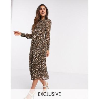 ファッションユニオン ミディドレス レディース Fashion Union midi dress with high neck detail in retro floral priint エイソス ASOS ブラック 黒