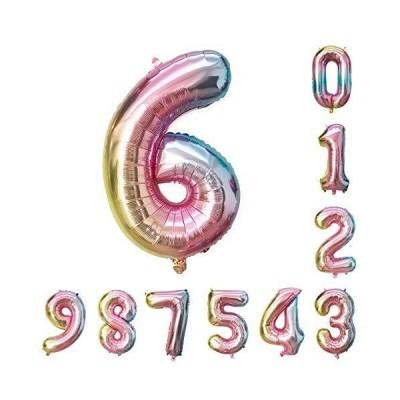 約93cm 虹色 数字バルーン 、0-9誕生日パーティーデコレーションの風船、レインボーグラデーションディジット