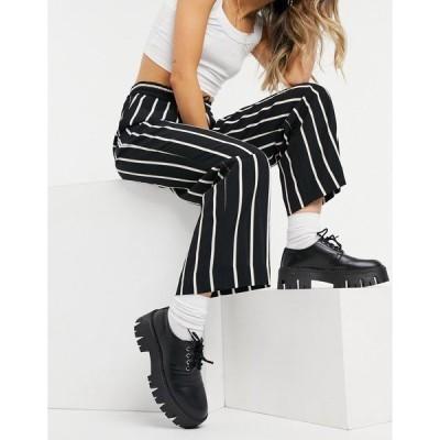 モンキ レディース カジュアルパンツ ボトムス Monki wide leg pants in stripe Stripe