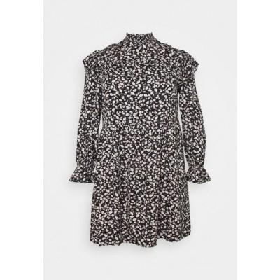 レディース ドレス PCSEVORA DRESS CURVE - Day dress - black/small flowers