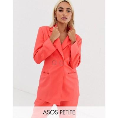 エイソス ASOS Petite レディース スーツ・ジャケット アウター ASOS DESIGN Petite strong shoulder suit blazer in coral Coral
