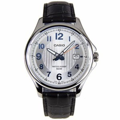 腕時計 カシオ メンズ Casio MTP-E126L-7A Men's Black Leather Dress Watch Date Silver Dial