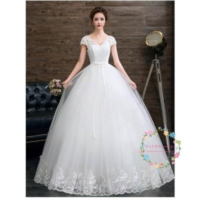 ウエディングドレス マタニティドレス エンパイア 半袖 結婚式 花嫁 ロングドレス ウェデイングドレス 大きいサイズ 二次会 パーティードレス 披露宴 演奏会
