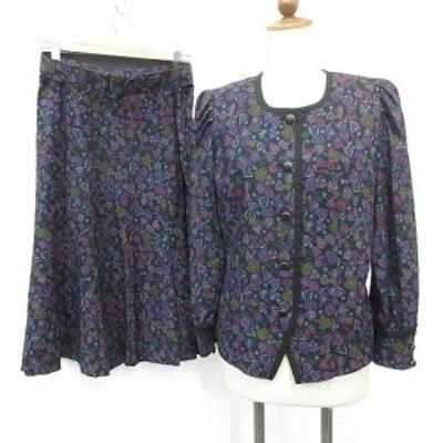 【中古】レリアン セットアップ スカートスーツ ノーカラー フレアースカート プリント 黒 ピンク 紫 9号 レディース