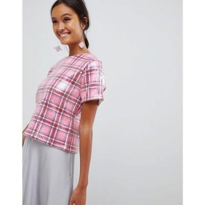 エイソス ASOS DESIGN レディース Tシャツ トップス t-shirt in printed check sequin Nude pink