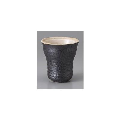 (業務用・湯呑み・コップ)黒ガラス釉ウェーブカップ(入数:5)