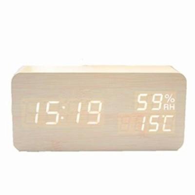 RITORI LEDデジタル 置き時計 目覚まし時計 木目 温度湿度計 USB給電式 乾電池給電式 卓上時計 カレンダー (茶色)