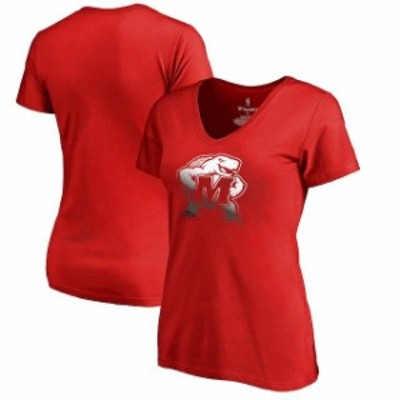 Fanatics Branded ファナティクス ブランド スポーツ用品  Fanatics Branded Maryland Terrapins Womens Red Gradient Logo T-Shirt