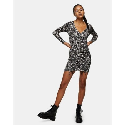 トップショップ レディース ワンピース トップス Topshop animal print ruched mini dress in multi